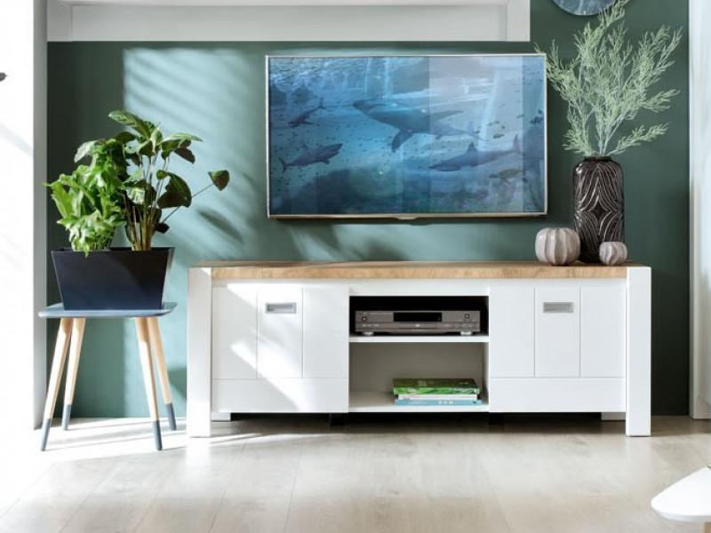 Country Media Table TV Stand Storage Cabinet Unit White/Oak 160cm - Dreviso (S378-RTV2D/160-BI/DWM/BI-KPL01)