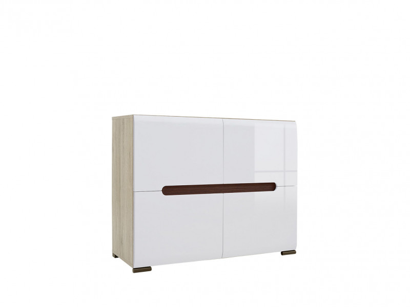 Square Small Contemporary Sideboard Cabinet White High Gloss / Oak - Azteca (S205-REG4D/8/11-DSA/BIP-KPL01)