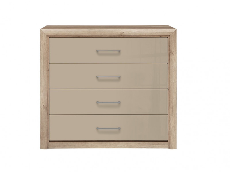 Wide Chest of 4 Drawers in Beige Gloss and Oak finish - Koen 2 (KOM4S)