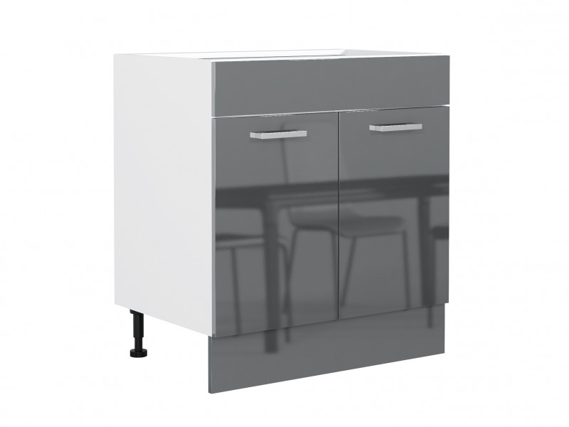 Free Standing Grey Gloss Kitchen Sink Cabinet Cupboard Unit 80cm 800mm - Modern Luxe (STO-MODERN_LUX-D80_ZL_ZAS-GREY-KP01)