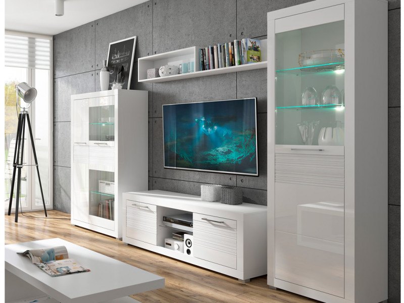 Modern Living Room Set White Gloss LED Cabinet Storage - Flames (S428-LIVING SET)