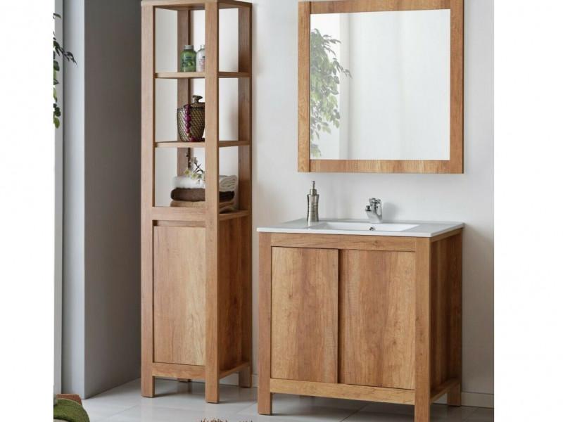 Free Standing Vanity Bathroom Cabinet, Sink, Tall Storage Unit & Wall Mounted Mirror 80cm 800mm Oak - Classic Oak  (CLASSIC_821+CFP-80_D+841+800_SET_OAK)