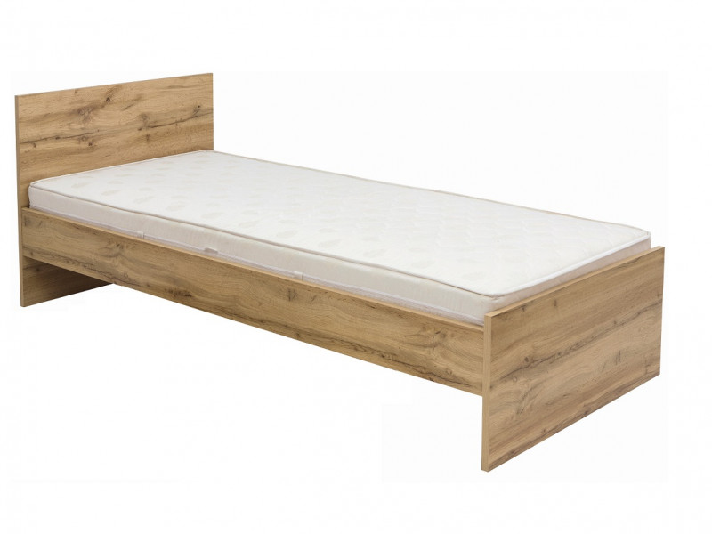 Modern Single Bed Frame with Bed Slats 90cm Headboard Oak - Zele (S383-LOZ/90-D15-WKL90/L21)