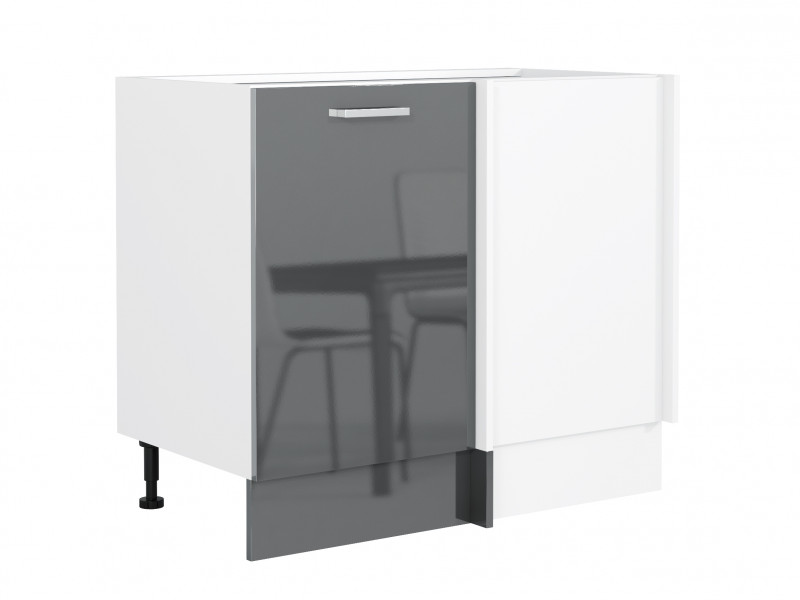 Free Standing Grey Gloss Straight Corner Kitchen Cabinet Cupboard Base Unit 110 x 60cm - Modern Luxe (STO-MODERN_LUX-DNP-GREY-KP01)