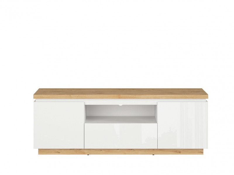 Modern White Gloss / Oak finish TV Cabinet Stand Unit with Soft Close Drawer - Erla (S426-RTV2D1S-BI / DMV / BIP)