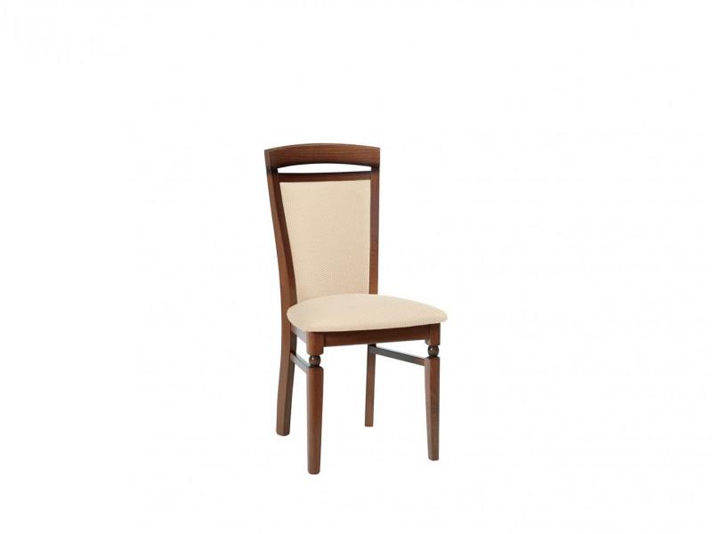 Traditional Dining Chair Solid Wood Walnut Finish Cream Gold Fabric - Bawaria (D09-TXK_DKRSII-TX012-1/1-TK612)