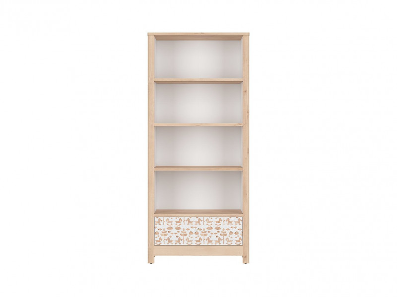 Tall White / Beech Bookcase Shelving Storage Unit Modern Kids Baby Nursery Furniture Horse Motif - Timon (S401-REG1S/18-BUI/BI/KOA-KPL01)