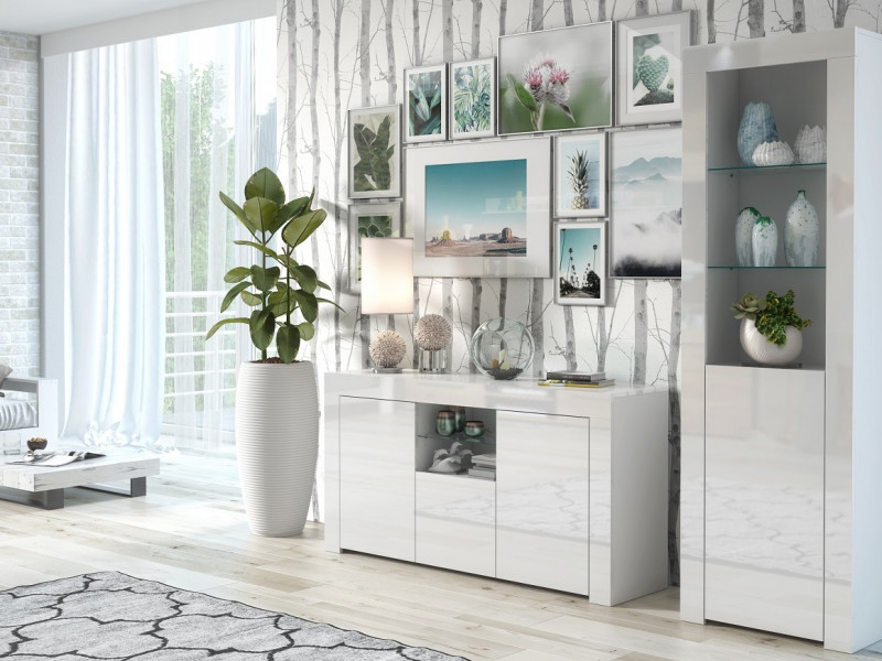 Modern White High Gloss Furniture Set: Sideboard / Lowboard & Tall Bookcase Glass Display Cabinet - Lily (HOF-LILYGLASS+SL)