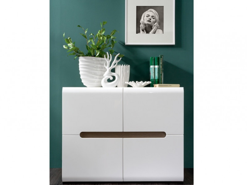 White Gloss Square Compact Sideboard Cabinet Unit with White/Black Gloss/Wenge insert - Azteca Trio (S504-SFK4D/8/11-BI/BIP-KPL01)