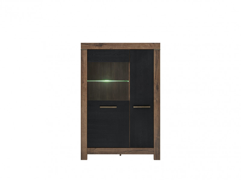 Wide Glass Display Cabinet with LED Light - Balin (S365-REG1D1W-DMON/DCA-KPL01)