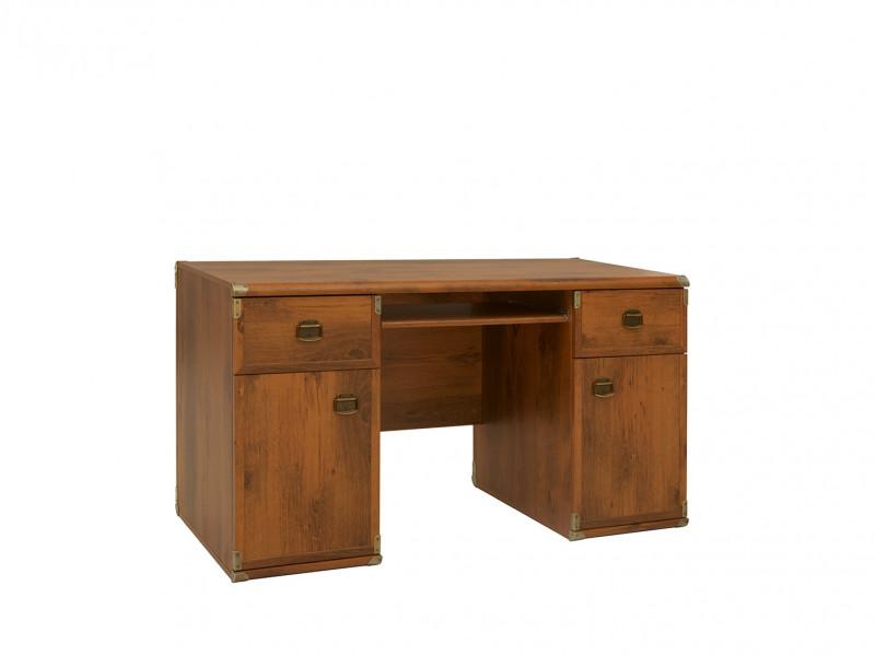 Modern Wide Sturdy Home Office Desk with Doors and Drawers in Dark Oak Effect finish - Indiana (S31-JBIU2d2s-DSU-KPL01)