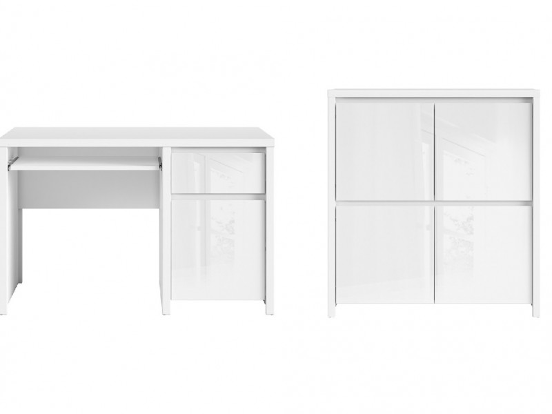 White Gloss Office Study Furniture Set 1 - Kaspian W (KASPW OFF SET1)