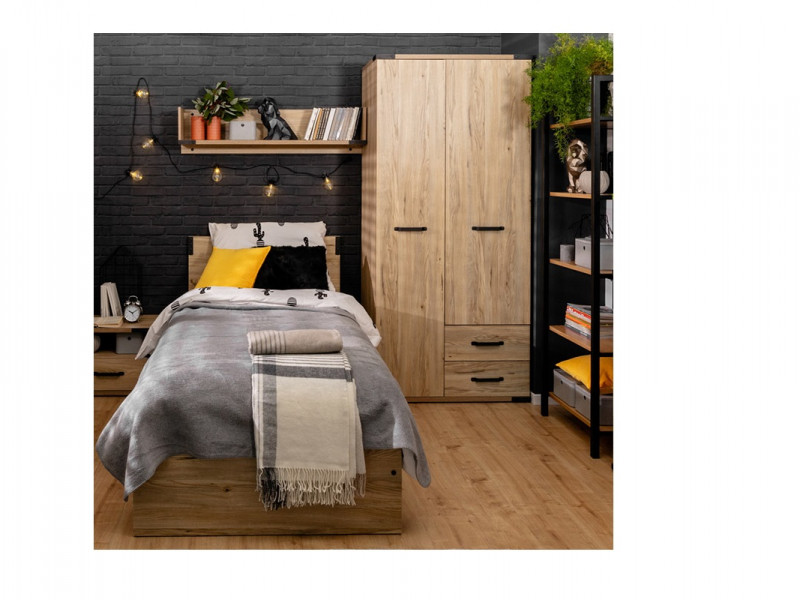 Modern Industrial Double Wardrobe Bedroom Storage Unit with Drawers Shelves and Hanging Rail Belarus Ash - Lara (S463-SZF2D2S-JBE-KPL01)