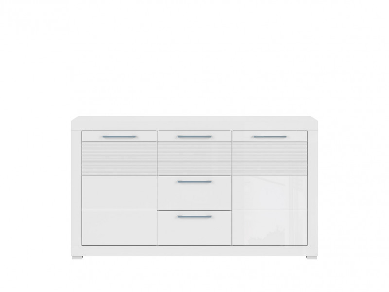 Modern Wide Sideboard Cabinet Storage Unit 150cm White/White Gloss - Flames (S428-KOM2D3S-BIP-KPL01)