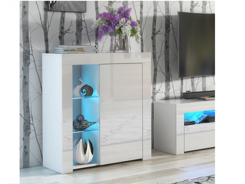 Small White Gloss Display Cabinet  Modern Glass Unit Bookcase with Blue LED Lights - Lily (HOF-LILY-1D_BI-BIP-KP01+LED_BLUE-CLIP(2))