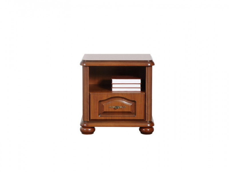 Bedside Cabinet Table Classic Style Traditional Bedroom Furniture Cherry Finish - Natalia (S41-KOM55/1s-WIP-KPL04)