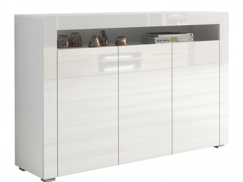 White High Gloss Sideboard Contemporary Unit Display Cabinet - Lily (KOM3D)