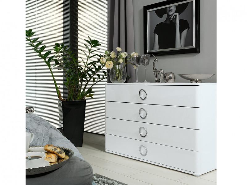 Modern Wide Bedroom Chest of 4 Drawers Storage Unit Soft Closing White/White Gloss - Roksana (L20-KOM4S/8/14-BIPL/BI-KPL01)