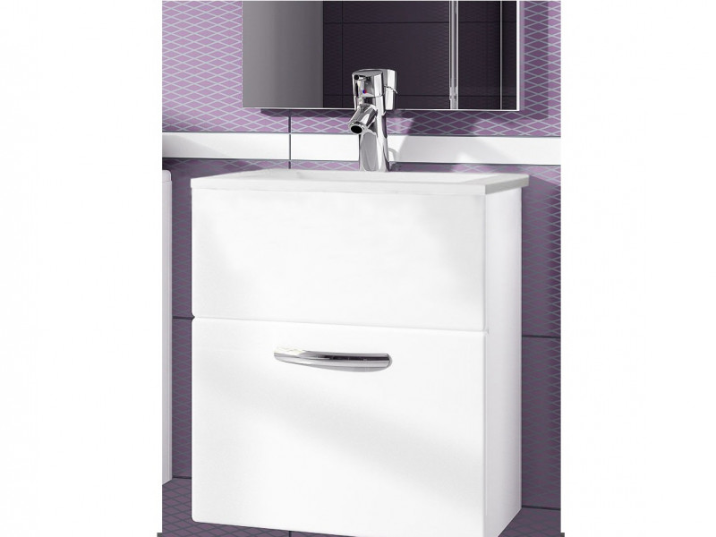 Wall Mounted Bathroom Vanity Unit Cabinet with Sink Basin 600mm White High Gloss - Coral (Coral DUM YRSA White)