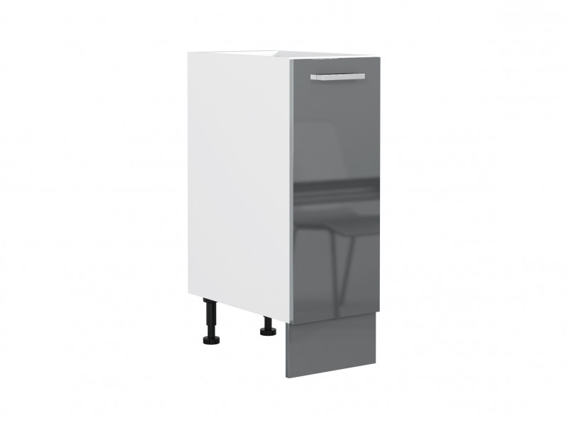 Free Standing White/Grey Gloss Kitchen Cabinet Cupboard Base Unit 30cm 300mm - Modern Luxe (STO-MODERN_LUX-D30-P/L-GREY-KP01)
