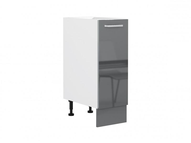 Free Standing Grey Gloss Kitchen Base Cabinet Cupboard 1 Door Unit 30cm 300mm - Modern Luxe (STO-MODERN_LUX-D30-P/L-GREY-KP01)