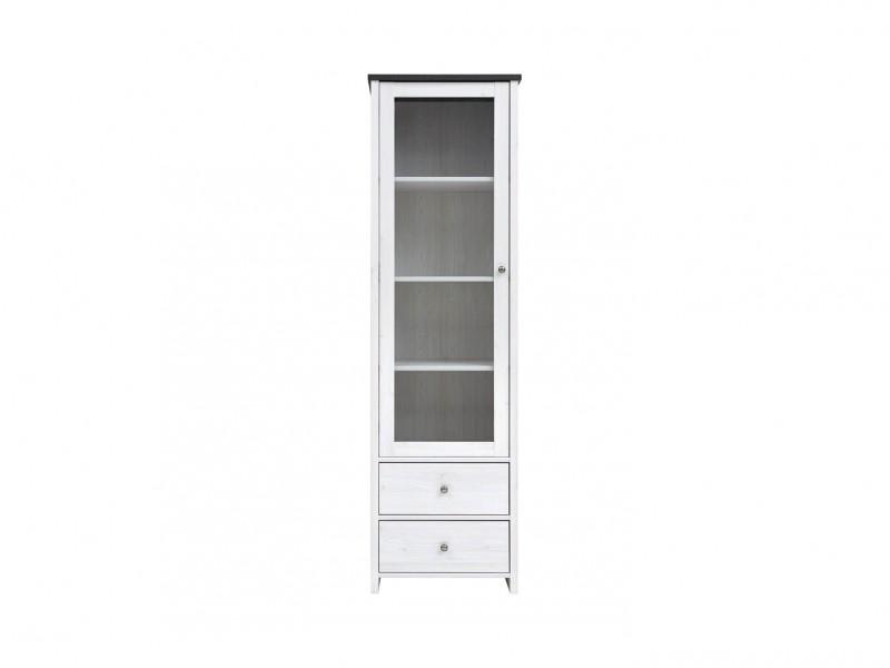 Glass Display Cabinet White Wash Wood Effect - Porto (REG1W2S)