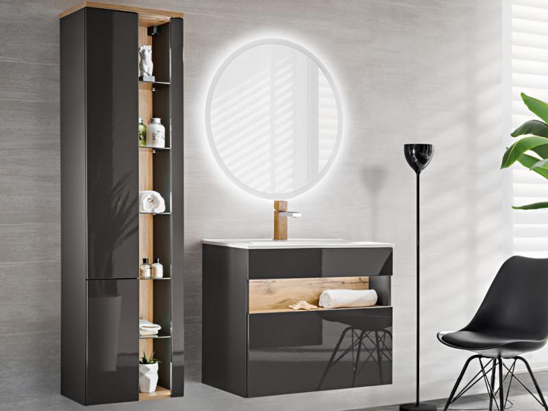 Modern Wall Bathroom LED Tall Cabinet Unit Set Grey Matt/ Grey Gloss - Bahama (BAHAMA_821_SET_GREY)