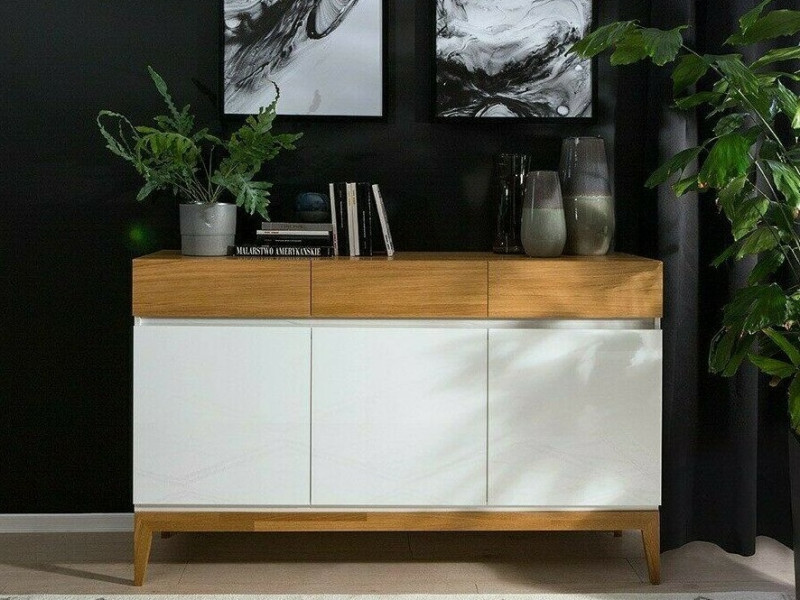 Scandinavian White Gloss & Oak Sideboard Cabinet Storage Drawer Dresser Unit on Wooden Legs - Kioto (S425-KOM3D3S-BI/BIP/DNA-KPL01)