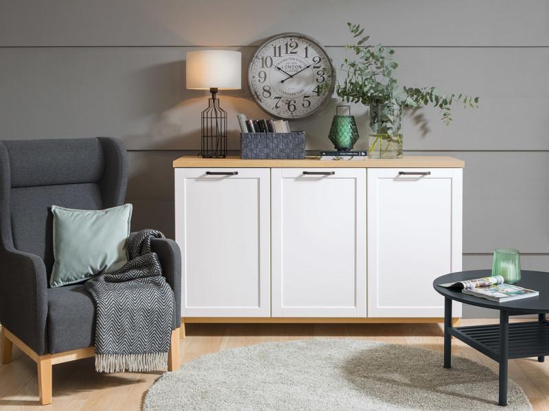 Large Scandinavian Sideboard Dresser Cabinet in White & Oak - Haga (KOM3D)