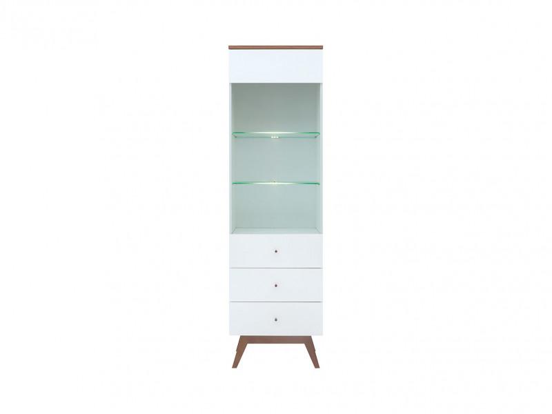 Scandinavian White Gloss/Walnut finish Tall Living Room Display Storage Cabinet White LED Lights Wooden Legs - Heda (S385-REG1W2S-BI/MSZ/BIP-KPL01+LED)