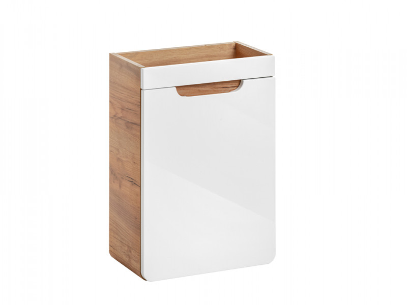 Modern White Gloss / Oak Wall Vanity 40cm Sink Bathroom Cabinet Storage Cloakroom Unit - Aruba (ARUBA_826)