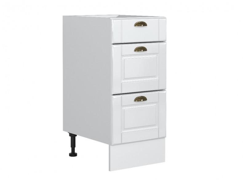 Free Standing White High Gloss Kitchen Cabinet 3 Drawer 400 Base Unit 40cm Shaker Style - Antila (HOF-ANTILA-D40_S/3-BI-BIP-KP01)