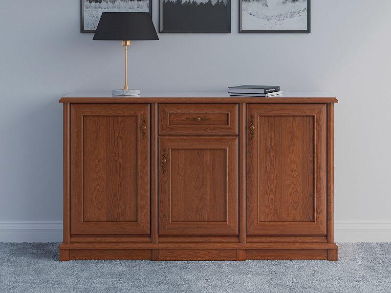 Vintage inspired Large Sideboard Dresser Cabinet Chestnut finish - Kent (EKOM 3D1S)