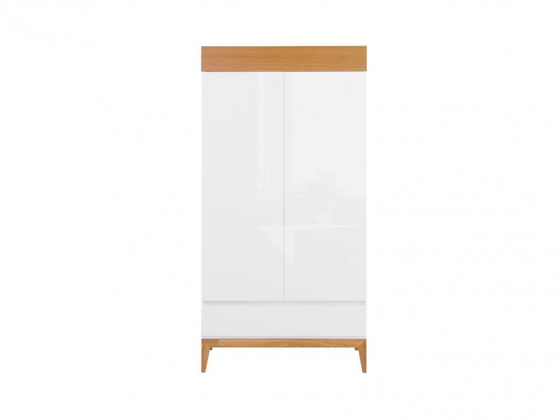 Scandinavian Double Wardrobe Storage Cabinet Unit Wood White Gloss Oak - Kioto (S425-SZF2D1S-BI/BIP/DNA-KPL01)
