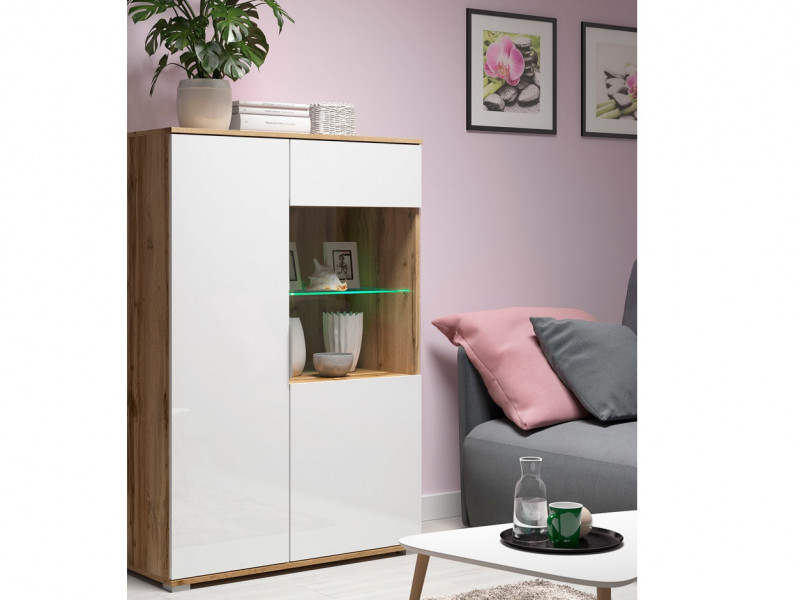 Modern White Gloss & Oak Wide Glass Fronted Display Cabinet Storage 2 Door Unit with LED Light - Zele (S383-REG1W1D/90-DWO/BIP+LED)