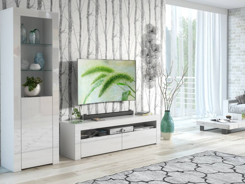 Modern White High Gloss Furniture Set: Tall Display Cabinet Bookcase & Entertainment Stand TV Unit - Lily (HOF-RTV+SL)