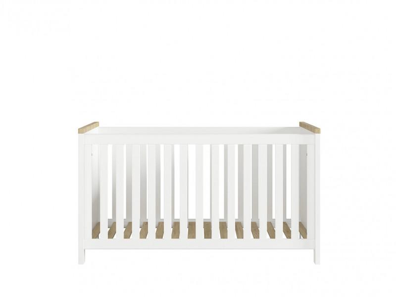 Modern Height Adjustable Baby Cot Bed Wooden Slats White/Oak - Dreviso Baby (S378-LOZ/140X70-BI/DWM)