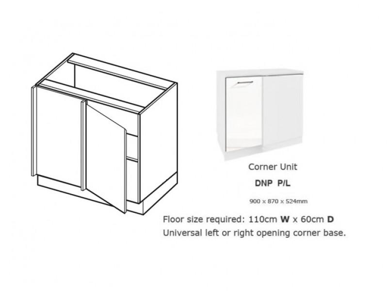 Free Standing White Gloss Kitchen Cabinet Corner Cupboard Unit 110cm - Roxi (Roxi DNP P/L)