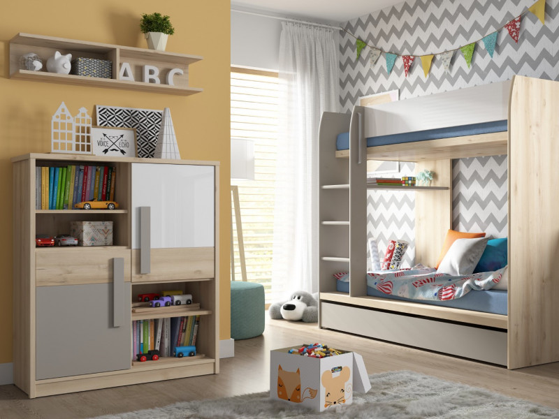 Modern Bunk Bed Set: Bed Frame, Drawer, Shelf and Bookcase Beech Effect Grey and White Gloss - Namek (S412-BUNK-BED-SET)