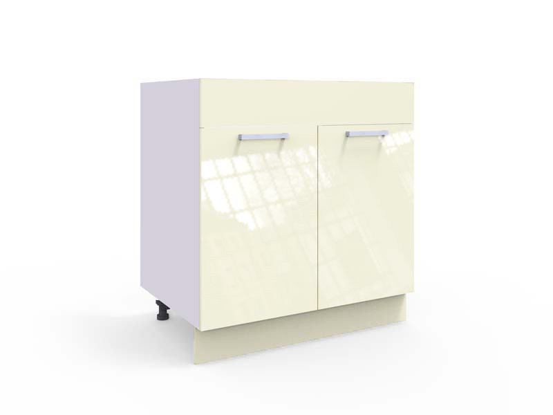 Free Standing Cream Gloss Kitchen Sink Cabinet Cupboard 800 Base Unit 80cm - Modern Luxe (STO-MODERN_LUX-D80_ZL_ZAS-VAN-KP01)