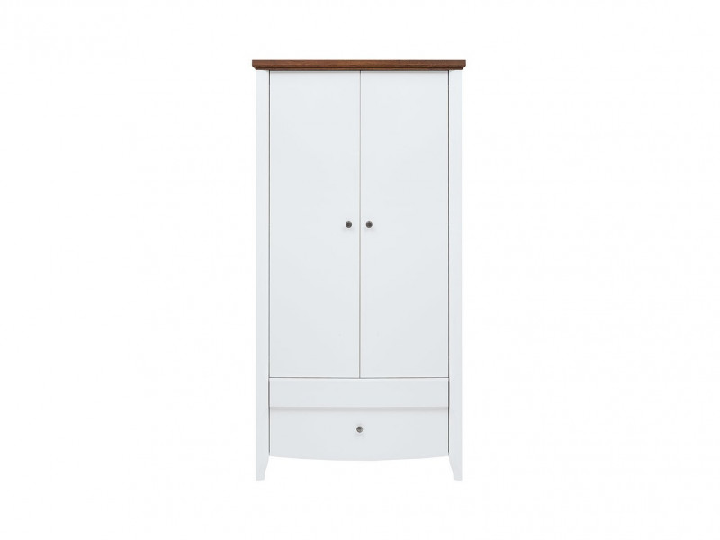 Classic Double 2-Door Wardrobe Drawer Rail Wood Bedroom Storage White Gloss/Acacia - Kalio (S423-SZF2D2S-BIP/ACZ/BIP)