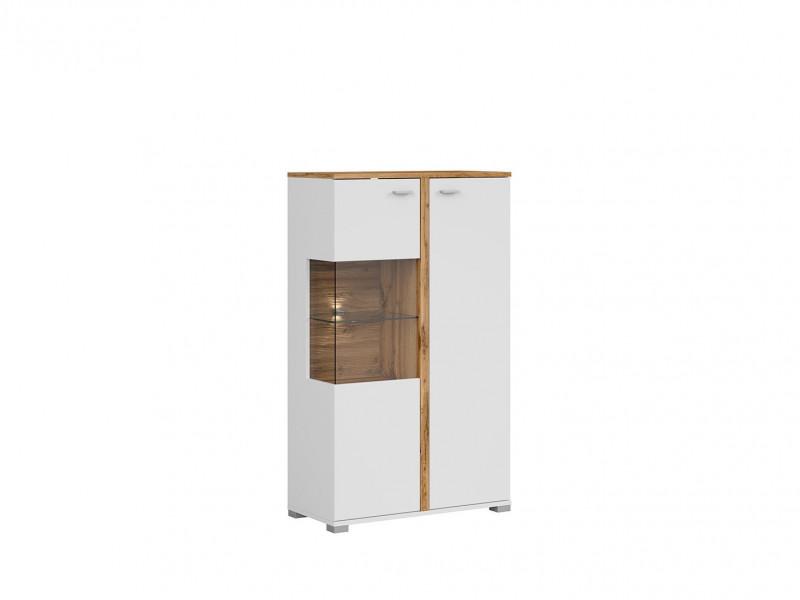 Modern White & Oak Compact Display Cabinet Dresser Storage Unit 2 Soft Close Doors LED Lights - Alamo (S266-SFK1W1D/13/8-DWO/BI/BISM-KPL01)