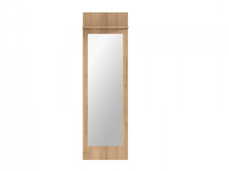 Modern Large Wall Mounted Mirror Entrance Hall Hallway Panel with Shelf Riviera Oak Effect - Balder (S382-LUS/45-DRI-KPL01)