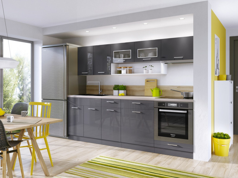 Grey Gloss Kitchen Cabinets Cupboards 7 Unit DIY Kitchen Set - Modern Luxe (ModernLuxe7UnitGrey)
