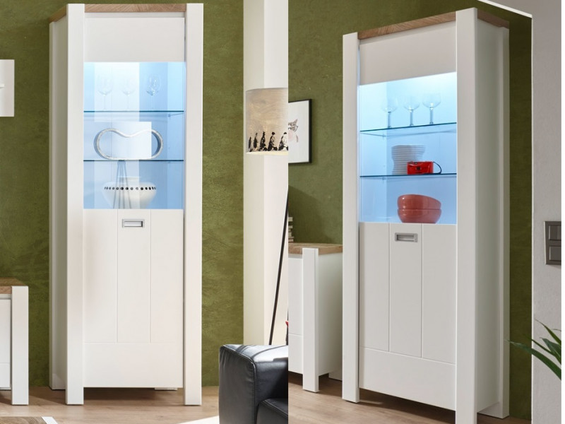 Country Glass 1-Door Tall Display Cabinet Storage Unit Lights White/Oak - Dreviso (S378-REG1W/65/195-BI/DWM/BI-KPL01)