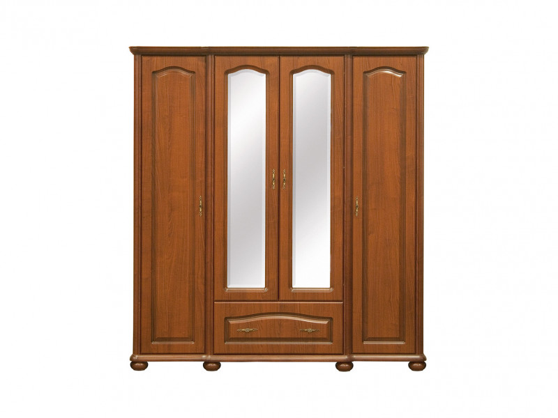 Four Door Wardrobe Classic Style Traditional Bedroom Furniture Cherry Finish - Natalia (SZF190)