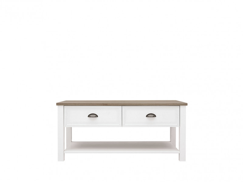 Rectangular Coffee Table with Drawers Storage Shelf Square Legs White / Oak Finish - Cannet (S351-LAW/110-BI/DAMO/BI)
