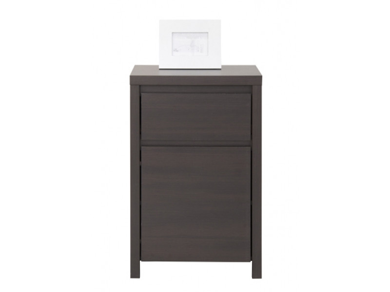 Modern Side Cabinet Small Storage Drawer Unit Wenge Dark Wood - Kaspian (S128-KOM1D1SP-WE/WE-KPL03)