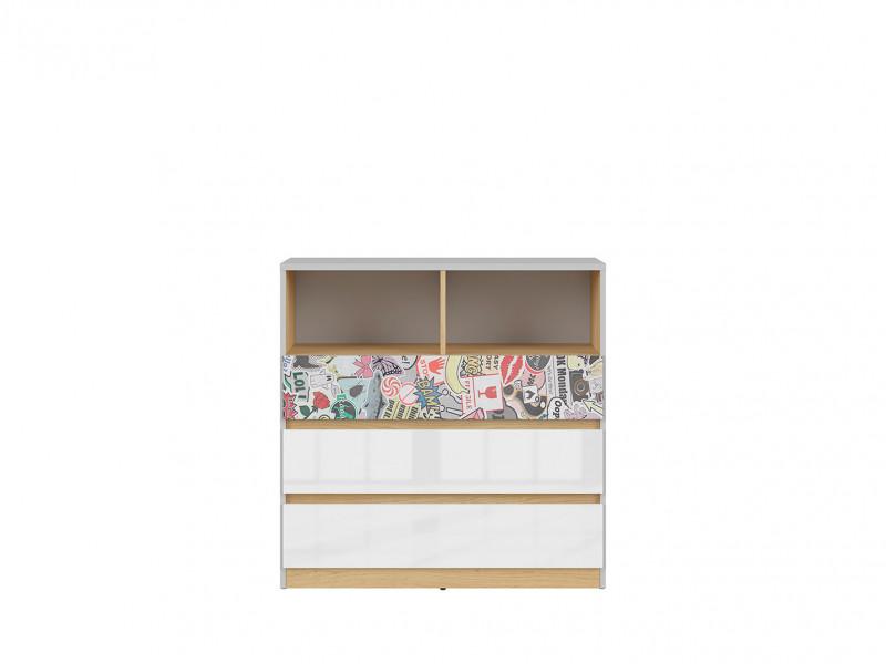 Modern Chest of 3 Drawers with Open Shelving Storage Kids Bedroom White Gloss/Grey/Oak Emoji Comic - Nandu (S441-KOM3S-JSZ/DP/BIP/SCR-KPL01)
