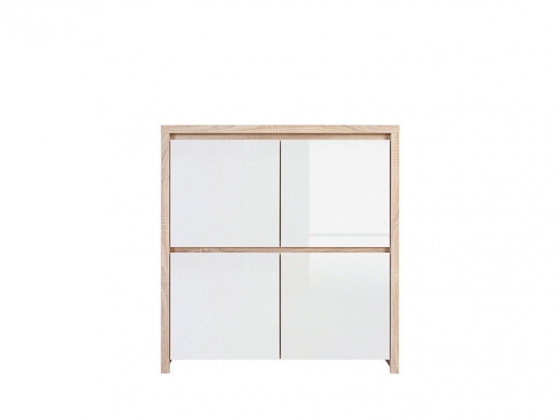 Square Sideboard Cabinet Sonoma Oak & White Gloss - Kaspian (S128-KOM4D-DSO/BI-KPL01)